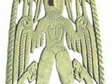 Бляха. Крылатая богиня VII – VIII вв. Бронза. 15,7 х 7,5 см п. Курган Чердынского р-на Пермской обл.